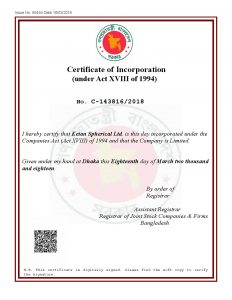 Certificate of Joint Stock Company Bangladesh